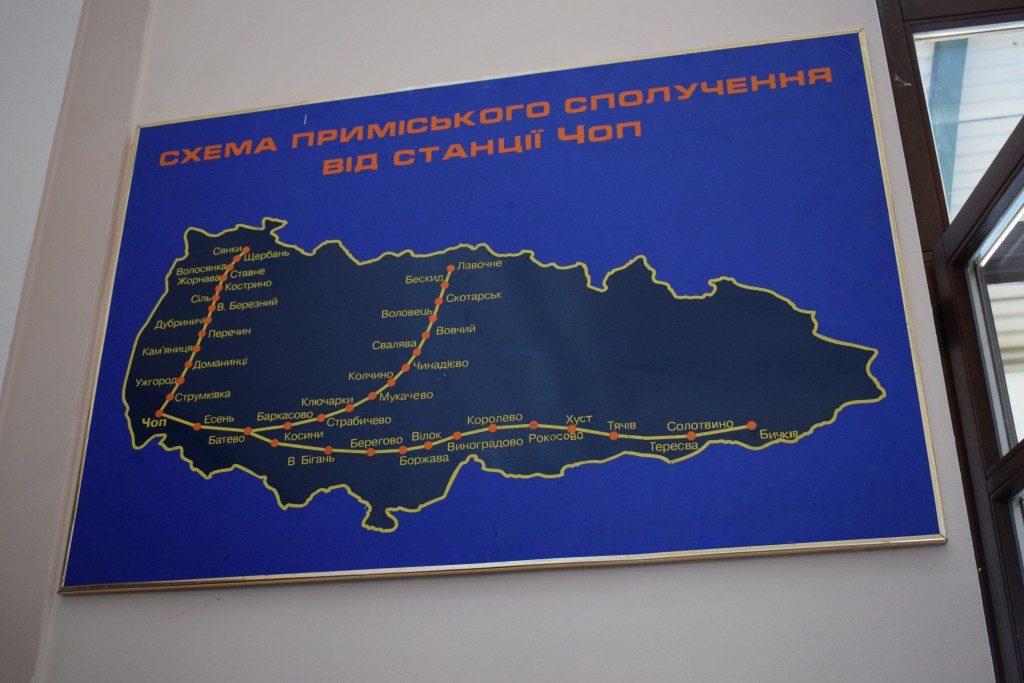 Kárpátalja vasútvonalai a csapi elővárosi állomáson